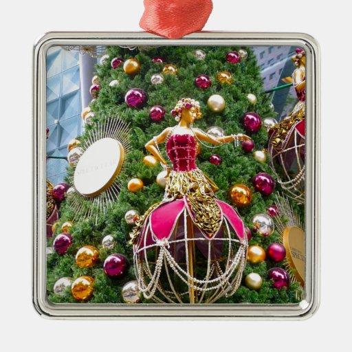 Manniquins del árbol de navidad adorno navideño cuadrado de metal