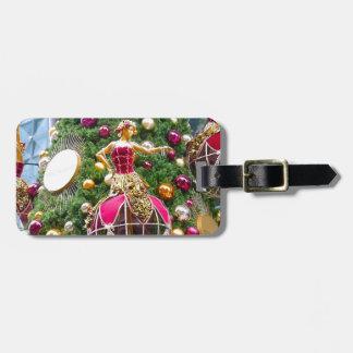 Manniquins del árbol de navidad etiquetas para maletas