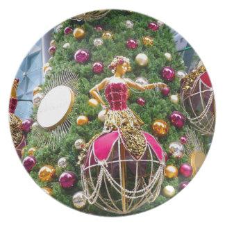 Manniquins del árbol de navidad platos