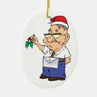 Manny el albañil adorno navideño ovalado de cerámica