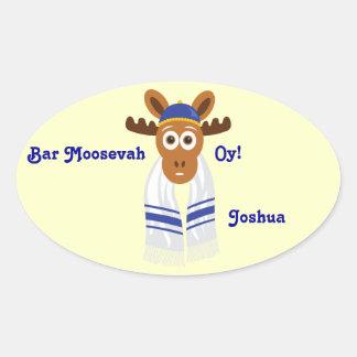 ¡Manny los alces Head_Bar Moosevah Oy _personaliz Colcomanias De Oval Personalizadas