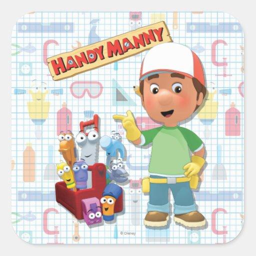 Manny práctico y sus herramientas que hablan pegatina cuadrada