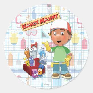 Manny práctico y sus herramientas que hablan pegatina redonda