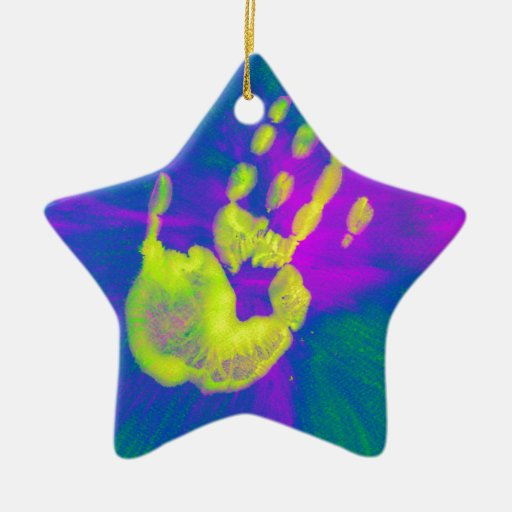 Mano amarilla adorno navideño de cerámica en forma de estrella