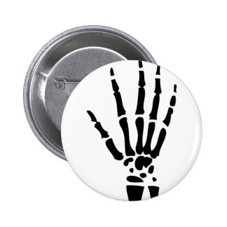 mano asustadiza Halloween del hueso Pin Redondo De 2 Pulgadas