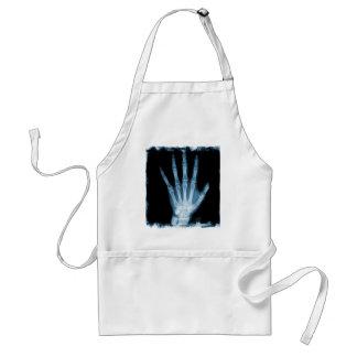 Mano azul del esqueleto de la radiografía delantal