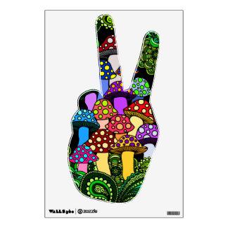 Mano colorida de la paz de la etiqueta de la pared