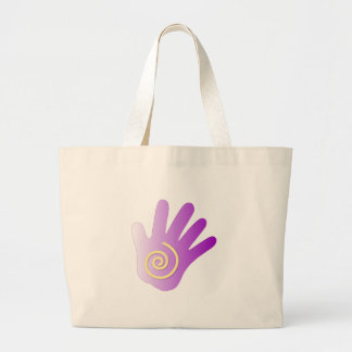 Mano curativa - púrpura bolsa tela grande