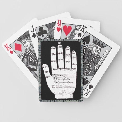 Mano de Guidonian, música blanco y negro, medieval Baraja Cartas De Poker