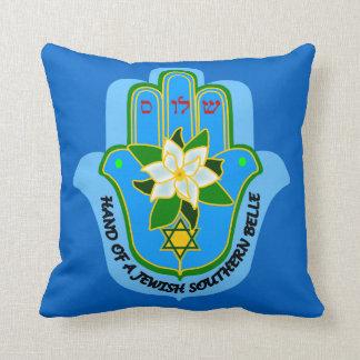 Mano de Hamsa de una belleza meridional judía Cojín Decorativo