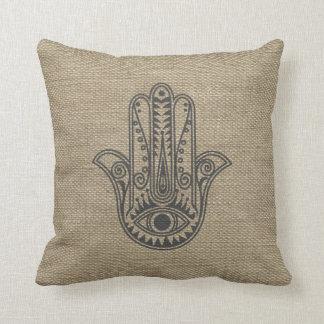 Mano de HAMSA del amuleto del símbolo de Fátima Cojín