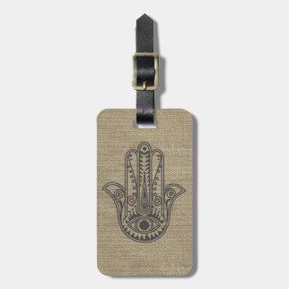 Mano de HAMSA del amuleto del símbolo de Fátima Etiqueta De Maleta