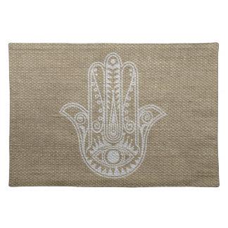 Mano de HAMSA del amuleto del símbolo de Fátima Mantel Individual