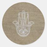 Mano de HAMSA del amuleto del símbolo de Fátima Pegatina Redonda