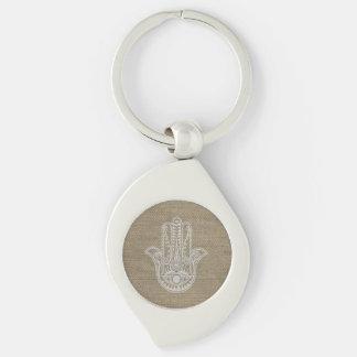 Mano de HAMSA del amuleto del símbolo de Fátima Llavero Plateado En Forma De Espiral