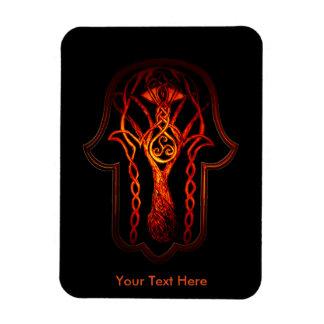 Mano de Hamsa del Celtic (naranja/rojo) Imanes Rectangulares