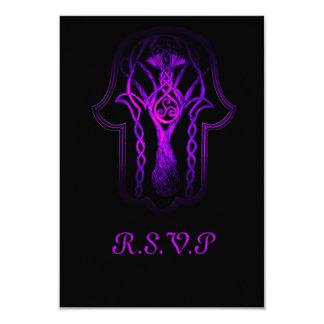 """Mano de Hamsa del Celtic (púrpura) Invitación 3.5"""" X 5"""""""