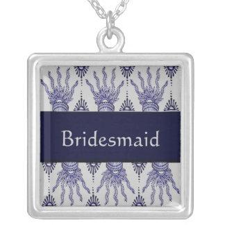 Mano de la alheña (azul) (boda) collar personalizado