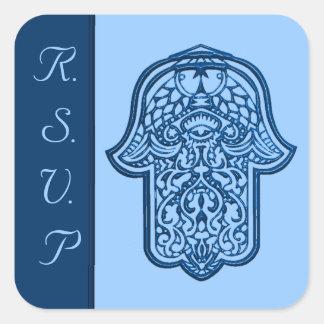 Mano de la alheña de Hamsa (azul) (boda) Colcomanias Cuadradases