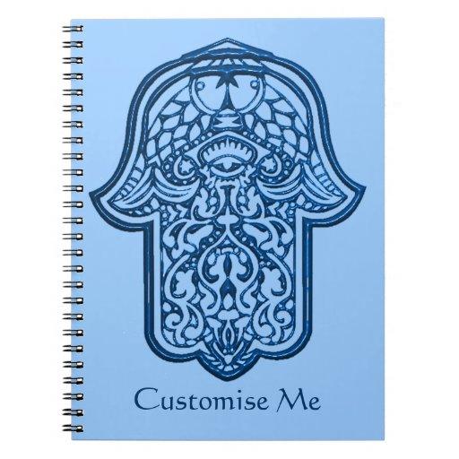 Mano de la alheña de Hamsa (azul) Libros De Apuntes Con Espiral