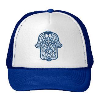 Mano de la alheña de Hamsa (azul) Gorra