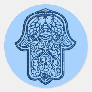 Mano de la alheña de Hamsa (azul) Etiquetas Redondas