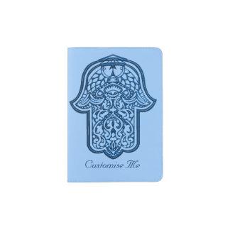 Mano de la alheña de Hamsa (azul) Porta Pasaporte