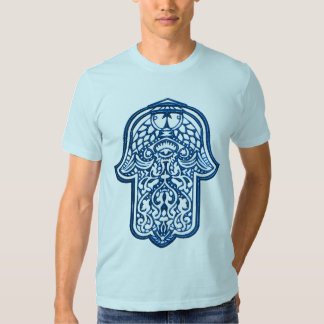 Mano de la alheña de Hamsa (azul) Remera