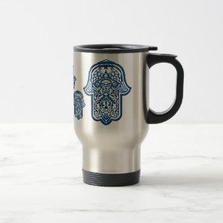 Mano de la alheña de Hamsa (azul) Taza Térmica
