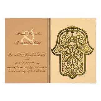 """Mano de la alheña de Hamsa (de oro) (boda) Invitación 5"""" X 7"""""""