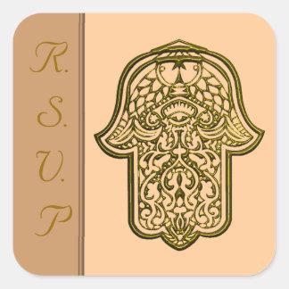 Mano de la alheña de Hamsa (de oro) (boda) Calcomanía Cuadrada