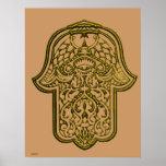Mano de la alheña de Hamsa (de oro) Impresiones