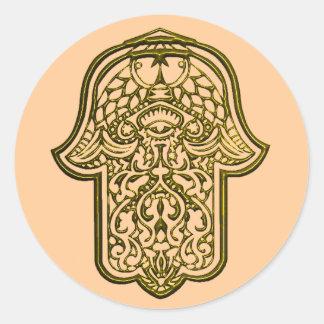 Mano de la alheña de Hamsa (de oro) Etiqueta Redonda