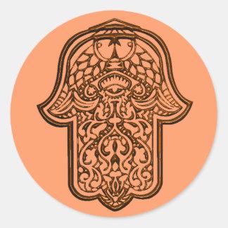 Mano de la alheña de Hamsa (naranja) Etiquetas Redondas