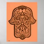 Mano de la alheña de Hamsa (naranja) Posters