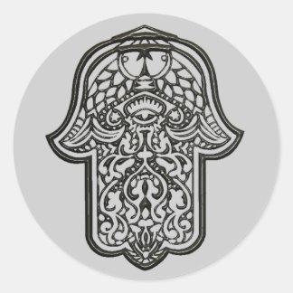 Mano de la alheña de Hamsa (original) Pegatina Redonda