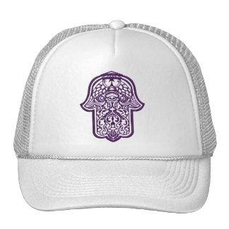 Mano de la alheña de Hamsa (púrpura) Gorras