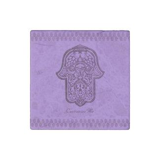 Mano de la alheña de Hamsa (púrpura) Imán De Piedra