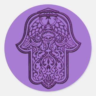 Mano de la alheña de Hamsa (púrpura) Pegatina Redonda