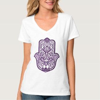 Mano de la alheña de Hamsa (púrpura) Polera