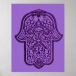 Mano de la alheña de Hamsa (púrpura) Póster