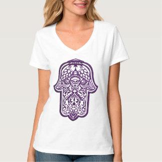 Mano de la alheña de Hamsa (púrpura) Remeras