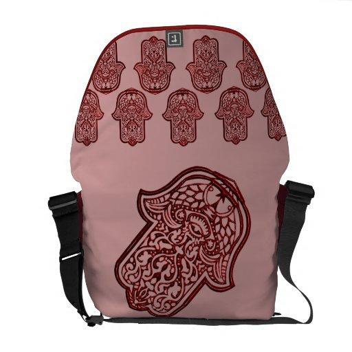 Mano de la alheña de Hamsa (rojo) Bolsas De Mensajeria