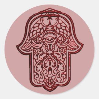 Mano de la alheña de Hamsa (rojo) Pegatina Redonda