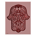 Mano de la alheña de Hamsa (rojo) Póster