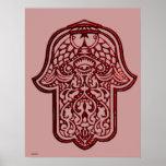 Mano de la alheña de Hamsa (rojo) Posters