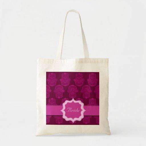 Mano de la alheña de Hamsa (rosa) (boda) Bolsa