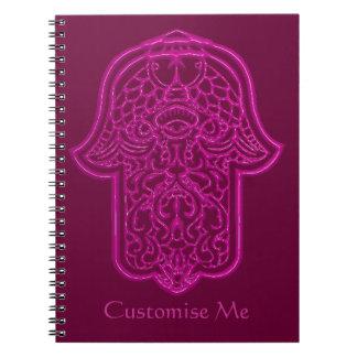 Mano de la alheña de Hamsa (rosa) Libro De Apuntes Con Espiral