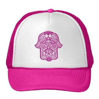 Mano de la alheña de Hamsa (rosa) Gorras