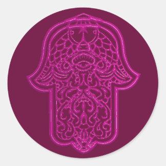 Mano de la alheña de Hamsa (rosa) Pegatina Redonda